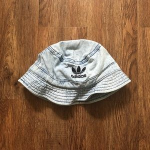 adidas Denim Bucket Hat with Trefoil Embroidery
